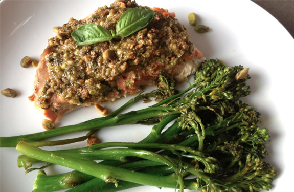 Baked Salmon with Pistachio-Lime Butter