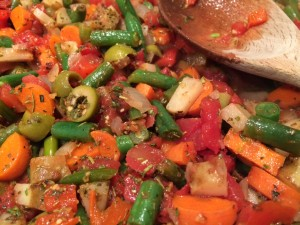 Easy Veggie Puttanesca Sauce with Baked Salmon