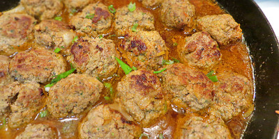 Finished Thai Spiced Ginger Meatballs with Red Curry Sauce