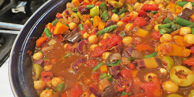 Moroccan Inspired Vegetable Stew with Chickpeas, Raisins and Olives - Feature Image - Grassfed Farmacy @grassfedfarmacy
