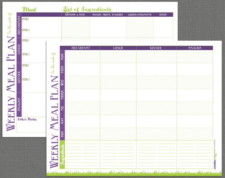 Weekly Meal Planning Calendar Templates Printable PDF by Grassfed Farmacy