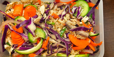 Cucumber Asian Cabbage Salad with Low Fat Sesame Peanut Sauce Dressing